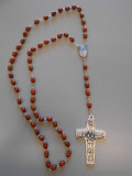 **Limited Edition** Pope Francis Commemorative Light Wood Rosary with Large Shepherd's Cross