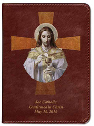Personalized Catholic Bible with Bread of Angels Cross Cover - Burgundy RSVCE