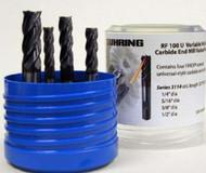 5 PC 3080 Guhring 4FL Carbide Square End Mill Set