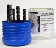 5 PC 3113 Guhring 4FL Carbide Stub End Mill Set