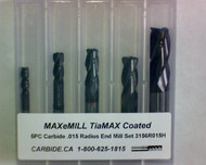 5 PC 3156H MAXeMILL 4FL Carbide .015 Radius End Mill Set