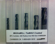 5 PC 3156H MAXeMILL 4FL Carbide .020 Radius End Mill Set