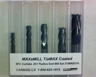 5 PC 3156H MAXeMILL 4FL Carbide .031 Radius End Mill Set