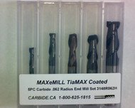 5 PC 3148H MAXeMILL 2FL Carbide .062 Radius End Mill Set