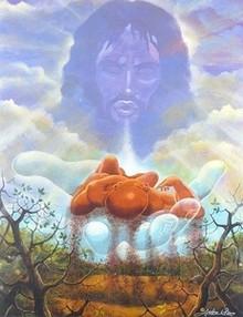 The Creation Of Man Art Print - Lester Kern