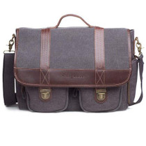 Kelly Moore Thirst Relief Shoulder Bag, Gray Canvas with Brown Trim
