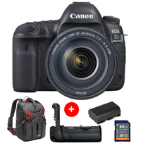 Canon EOS 5D Mark IV with EF 24-105mm f/4L IS II USM + FREE Battery Grip + 64gb Memory Card + Battery + Manfrotto Pro-Light 3N1-36 Backpack