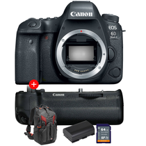 Canon EOS 6D Mark II (Body Only) + FREE Grip + Extra Battery + 64gb Memory Card + Manfrotto Pro-Light 3N1-26 Backpack
