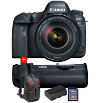 Canon EOS 6D Mark II with EF 24-105mm f/4L IS II USM + FREE Grip + Extra Battery + 64gb Memory Card + Manfrotto Pro-Light 3N1-26 Backpack