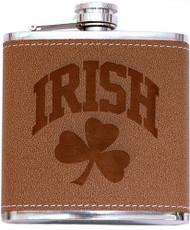 Irish Shamrock Leather Flask   Irish Rose Gifts
