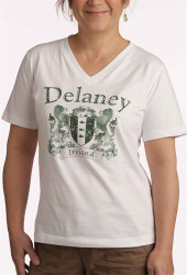 Ladies Vintage Coat of Arms V-Neck Tee Shirt | Irish Rose Gifts