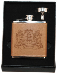 Irish Coat of Arms Leather Flask with funnel | Irish Rose Gifts