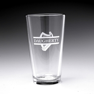 Personalized Harp Pint Glass, 16oz - Set of 4 (Sand Etched)