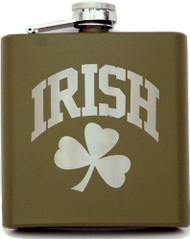Army Green Shamrock Flask   Irish Rose Gifts