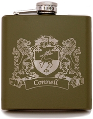 Army Green Irish Coat of Arms Flask   Irish Rose Gifts