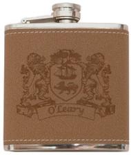 Irish Coat of Arms Leather Flask   Irish Rose Gifts