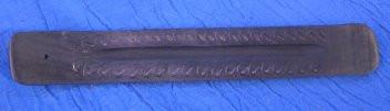 Dark Carved Wood Stick Incense Burner