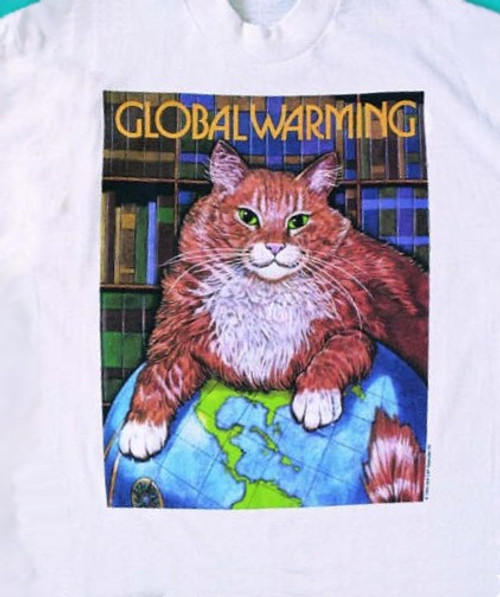 GLOBAL WARMING CAT T-SHIRT WHITE