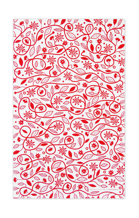 Jangneus Swedish Tea Towels - Doodle Flower - Red - 100% cotton