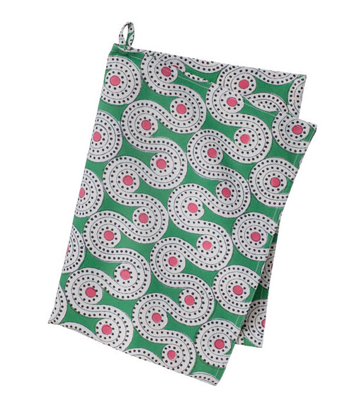 Colorful Contemporary Kitchen Towel - Alma - Green- Cotton