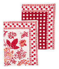 Kitchen Towel - Floral & Check - Red - Set of 2