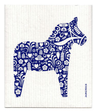 Swedish Dishcloth - Dala Horse - Blue