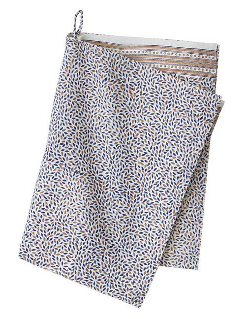 Block print kitchen towel - Mini Leaf - Midnight Gold - Cotton