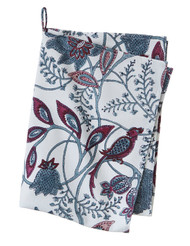 Block print kitchen towel - Phulphul - Dusty blue - Cotton