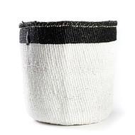 Kiondo Basket - White with Black Top Stripe