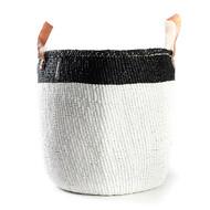 Kiondo Basket - White with Black Top Stripe & Handle