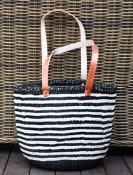 Kiondo Basket - Thin Stripes Black & White w/ Long Handles- Medium