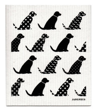 Jangneus Swedish dishcloth, Black Dogs, 100% biodegradable