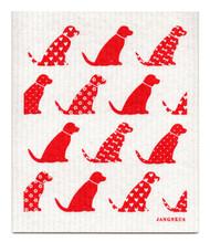 Swedish Dishcloth - Dogs - Red