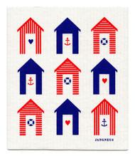 Swedish Dishcloth - Beach Huts - Red/Blue