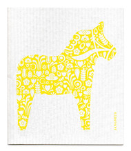 Swedish Dishcloth - Dala Horse - Yellow