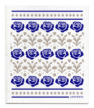 Swedish Dishcloth - Roses - Blue