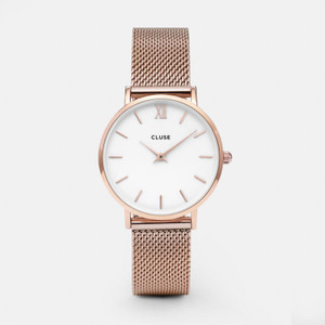 Cluse Minuit Mesh Rose Gold/White Watch