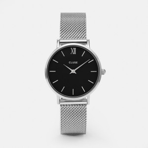 Cluse Minuit Mesh Silver/Black Watch