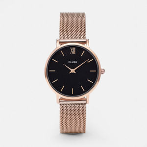 Cluse Minuit Mesh Rose Gold/ Black Watch