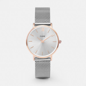 Cluse Minuit Mesh Rose Gold/Silver Watch CL30025