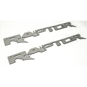 "2pc Brushed Stainless Steel Badges w/""Raptor"" for 2010-14 Ford F-150 SVT Raptor"