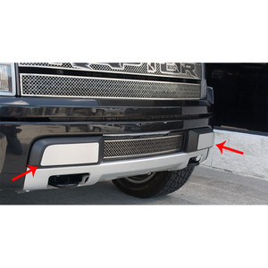 Brushed Stainless Steel Front Bumper Guards for 2010-2014 Ford F-150 SVT Raptor