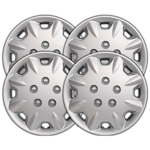 15 Inch Universal Silver Metallic Clip-On Hubcap Covers