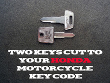 1983-2018 Honda XR50, 70,80,100,650L Motorcycle Keys Cut By Code - 2 Working Keys