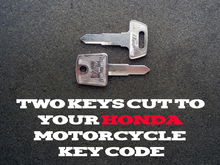 1983-2018 Honda Shadow Motorcycle Keys Cut By Code - 2 Working Keys