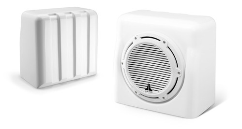 JL Audio FS110-W5-CG-WH: Single M10W5, Fiberglass Sealed Enclosure, White Classic Grille, 4 Ω