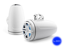 JL Audio M880-ETXv3-SG-WHLD-B: 8.8-inch (224 mm) Enclosed Tower Coaxial System, White Gel-Coat, White Sport Grilles with Blue LED