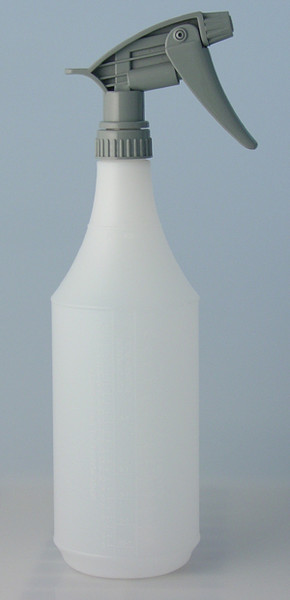 32 oz. Graduated spray bottle  and sprayer- Use for applying detail products that require spraying. Includes scale on side for easy dilution calculations.  The chemical resistant sprayer fits our 32 oz. bottle. To make your sprayer last longer, always clean after use by spraying clean water to flush chemicals.