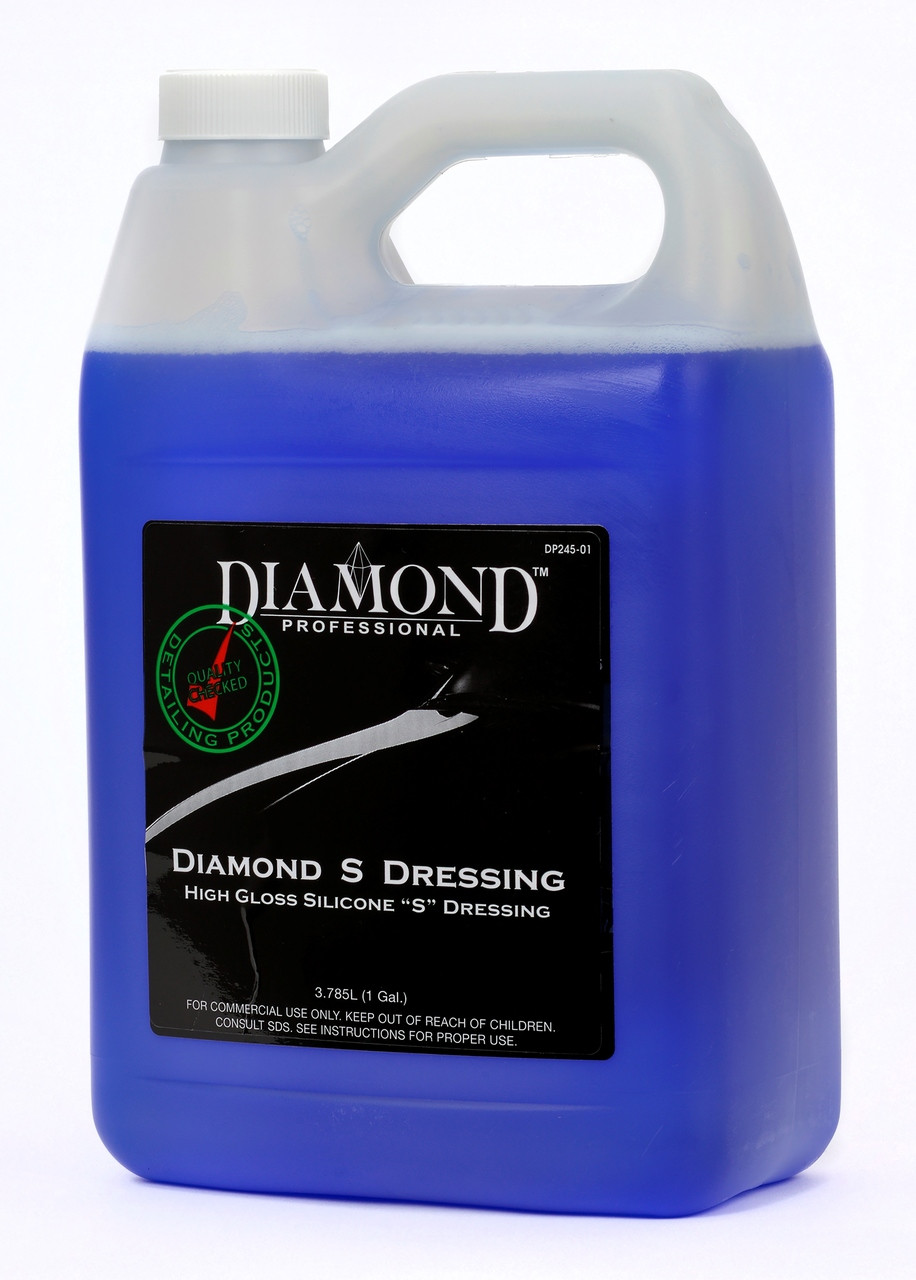 Diamond S Dressing is a blue long-lasting silicone dressing that produces an even, high gloss appearance. Diamond S Dressing is safe for use on vinyl, rubber, hard and soft plastic trim panels for both interior and exterior surfaces. It helps protect and restore original pliability to all vinyl and rubber surfaces, and leaves a long lasting, just-detailed appearance.