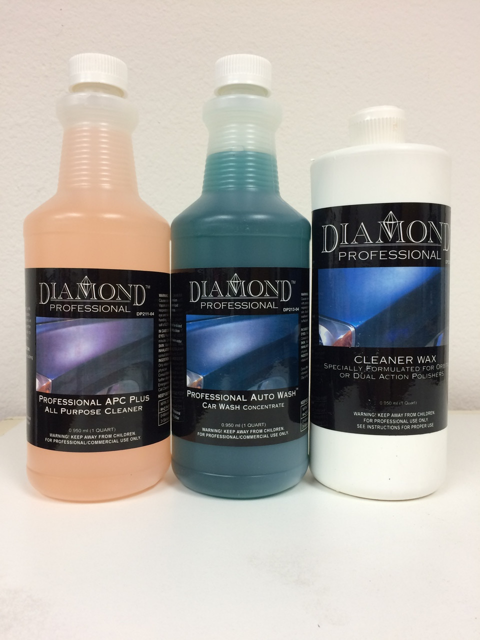 Taking care of your car is made easy with these 3 easy steps--cleaning, washing and protecting.  Your can prolong the beauty of your car's interior and exterior at a discounted price with just 3 products.  We've included some of our best Diamond Professional products in our 1-2-3 All Purpose Car Care Kit (quart sizes):  Professional APC Plus which can be used on paint, metal surfaces, upholstery, carpets and interior vinyl/leather panels (Please note dilution recommendations for consistent results.) Professional Auto Wash concentrate provides an effective lifting action that easily rinses away dirt and road film. Cleaner Wax removes light scratches, swirl marks and imperfections and produces a brilliant, lasting shine